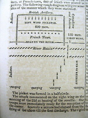 War of 1812 newspaper wVery Early MAP Battle of Frenchtown RAISIN RIVER Michigan