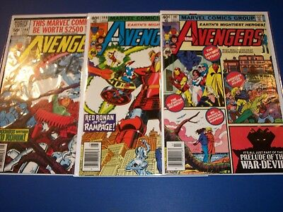 Avengers #197,198,199 Bronze age Run of 3  Vision Scarlet Witch Wow lot