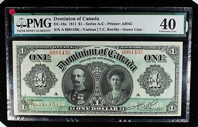 1911 Dominion of Canada PMG XF40 DC-18a $1 Note Item#T7210