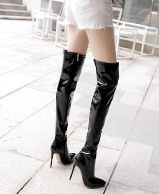 12CM Womens Sexy Patent Leather Over Knee Riding Dance Boots Pointed Toe Shoe F4