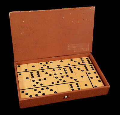 Vintage Game Set 28 Butterscotch Yellow Bakelite Dominoes In Box Tested