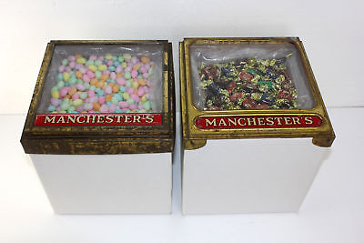 2 Antique Manchester Biscuit Co Metal Hinged Lid Glass Top Candy Dispensers 1900