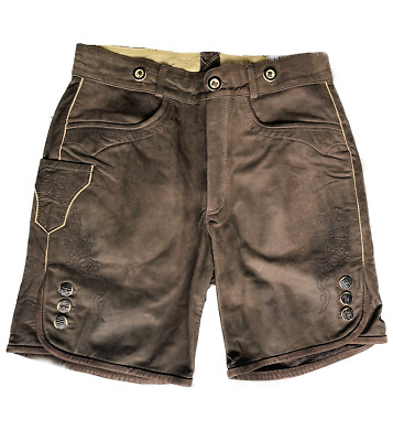 Winklbauer Galtür Cattle Leather Lederhose short Brown 46 48 52 60 62 64 66