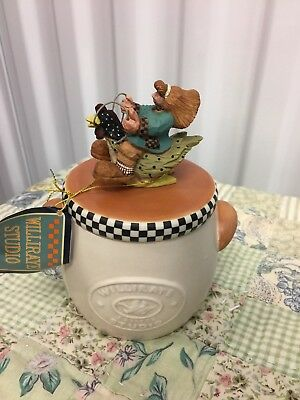 "Williraye Folk Art Collectible ""candle Crock Girl Riding Chicken"" Ww9001 Nib (B)"