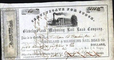 Cleveland And Mahoning Rail Road Co, 1853, Stock Certificate