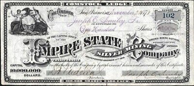 Empire State Silver Mining Co, Birginia Mining District, Storey County, Nv, 1878