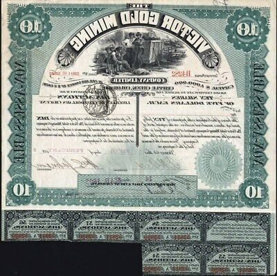 10 Share Victor Gold Mining Co, Limited, Cripple Crek, Co, 1895 + 5 Coupons