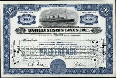 United States Lines, Inc., 1930, Preferred, Cancelled Stock Certificate