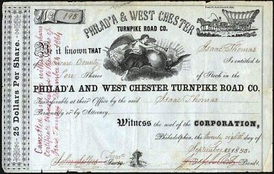 Philad'a And West Chester Turnpike Road Co, Pa, 1853, Classic Stock Certificate