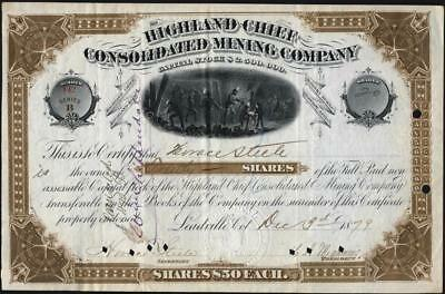 Highland Chief Consolidated Mining Co, Leadville, Co, 1879 Issued Stock Cft.