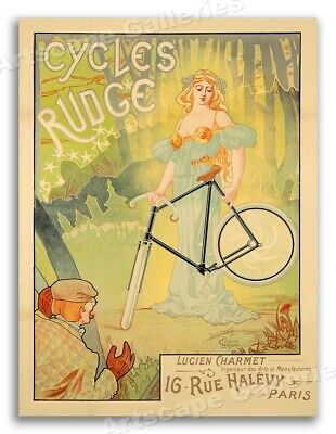 "1890s ""Cycles Rudge"" Paris Vintage Style Bicycle Poster - 24x32"
