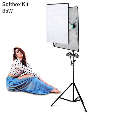 105W Photography Studio Soft Box Continuous Lighting Softbox Light Stand Kit USA