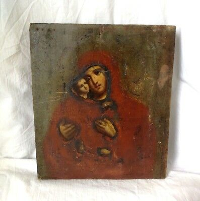 OLDEN RUSSIAN ICON Orthodox MARY JESUS CHRIST 1800-1900 Wooden LARGE ANTIQUE