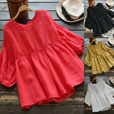 Women Summer Loose Solid Basic Flare Cotton Top Tee T Shirt Plus Size Blouse
