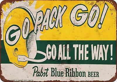 "1961 Packers and Pabst Blue Ribbon Vintage Rustic Retro Metal Sign 8"" x 12"""