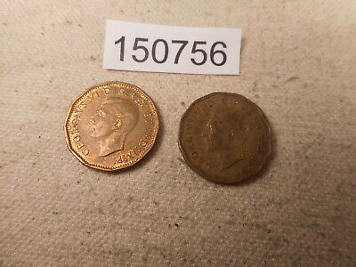 1942 + 1943 Canada Five Cents Tombac Two Coins Both Have Problems - # 150756