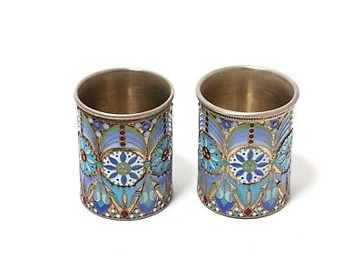 A pair of vodka cups (shot cup), silver, enamel. Moscow, Ovchinnikov, 1908-1917