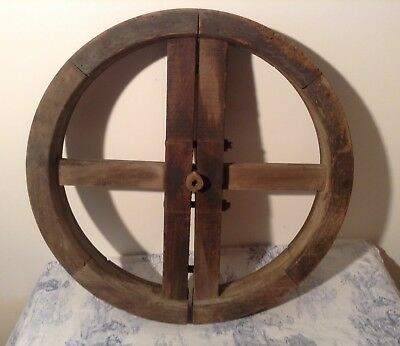 ANTIQUE WOODEN CART WAGON WHEEL - French Vintage Reclaimed Salvage (3031)