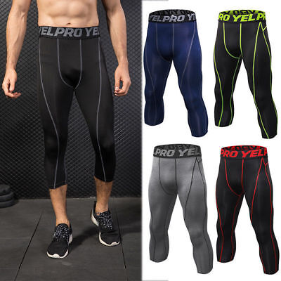 Men's Compression Capris Sports Tights Running Basketball 3/4 Pants Tight fit US