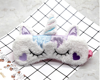 Unicorn Sleeping Mask Cute Unicorn Soft Plush Blindfold Eye Cover Eye Patch B