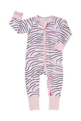 Bonds Baby Long Sleeve Zip Wondersuit Romper sizes 1 3 Colour Zebra Bae