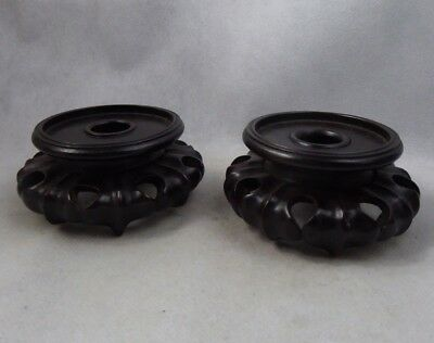 Chinese Antique Carved Wooden Pair Of Vase Stands Lotus Superb