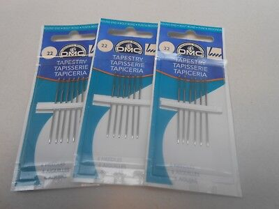 3 packs of DMC Tapestry Needles Size 22  - 6 in a pack