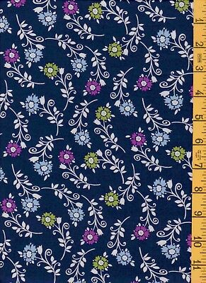 2Yd 100% Cotton Quilt Sew Fabric Heritage Studios Tiny Floral on Navy 4402 160