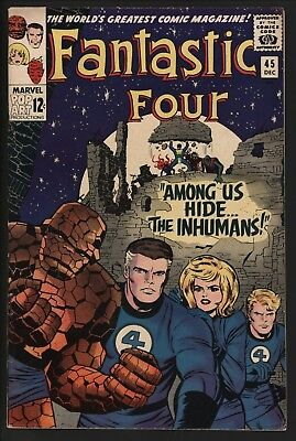 FANTASTIC FOUR #45 1st INHUMANS! LOVELY GLOSSY CENTS WHITE PAGES CLASSIC KIRBY