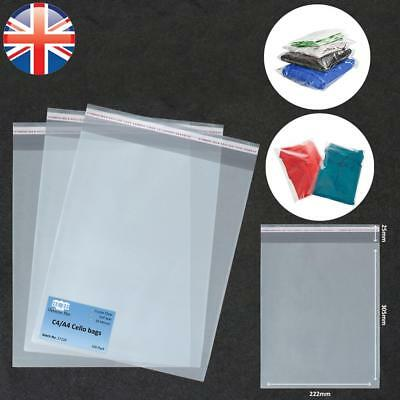 *UK Seller* A4 Cellophane Cello Bags PREMIUM QUALITY Self Seal Clear Card Party
