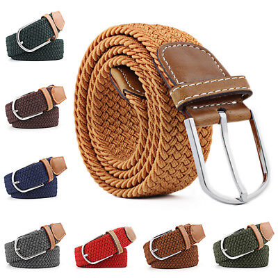 Stretch knitted Woven Canvas Buckle Belt Waistband Straps Braided Elastic Decor