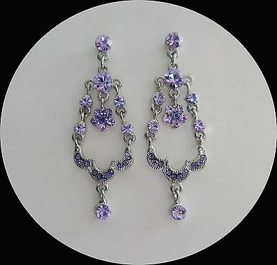 Vintage Style Flower Chandelier Earrings Violet Australia Crystals E2186A