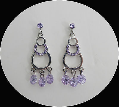 Vintage Style Fashion Chandelier Earrings with Violet  Crystal E2292