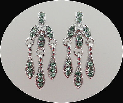 Vintage Style Chandelier Earrings With Peridot Australia Crystal E2231D