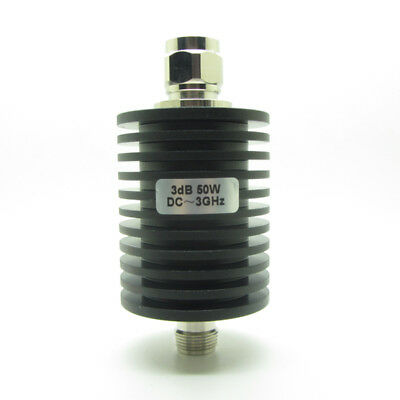RF Coaxial Attenuator 50W Watts 3dB N Type Male to Female DC to 3.0GHZ 50 Ohm