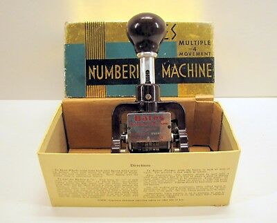 Vintage Bates Numbering Machine Stamp - 6 Wheels A Style 4 Movements w/ Box