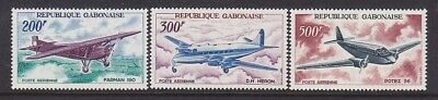 Gabon C50-52 MNH 1967 Airplanes Farman 190, De Havillad Heron & Potez 56 Set