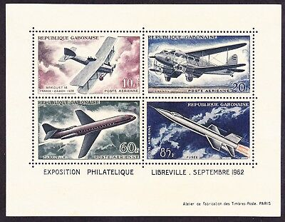 Gabon C10a MNH Development of Air Transport Set of 4 Diff Planes Mini Sheet of 4