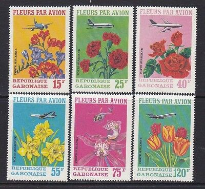 Gabon C109-11 MNH 1971 Various Flowers & Plane flowers by Air Full Set VF
