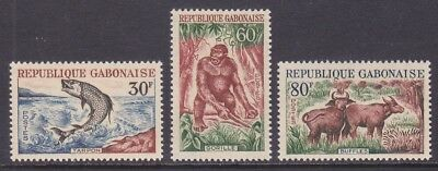 Gabon 172-74 MNH 1964 Fish Gorilla and Buffalo Set Very Fine