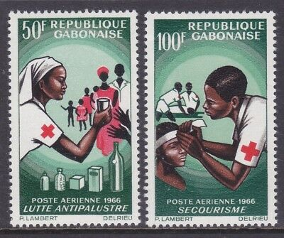 Gabon C41-42 MNH 1966 Red Cross Anti Malaria Treatment Set of 2 VF