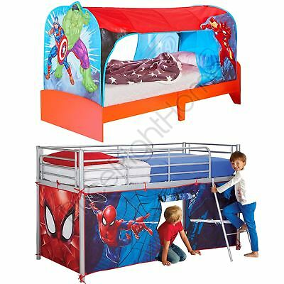 Mid-Sleeper Over Bed & Bed Tent Kids Boys Bedroom - Marvel Avengers Spiderman