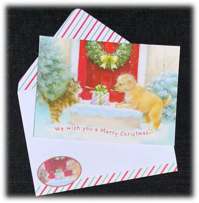 vintage we wish you a merry christmas kitten puppy gift happy new year card