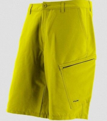 2ca0a9362b73 HUK Performance Fishing Hybrid Lite Blaze Yellow Shorts sz 28 Men  55  FreeShip