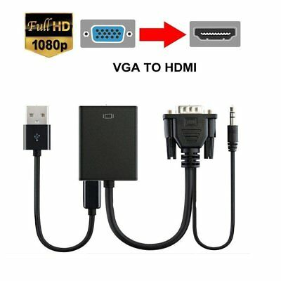 VGA to HDMI Converter Adapter Cable HD 1080P Stereo Audio Output USB Power HDTV