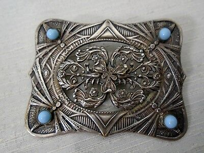 Nouveau Large Antique Silver Brooch C&R Mark Dragonfly & Turquoise Glass Stones