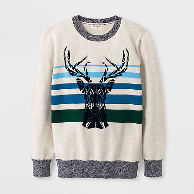 Nwt Cat & Jack Reindeer Pull Over Sweater Seasonal Size L (12/14) Oatmeal