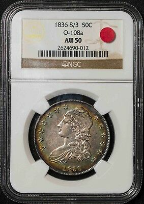 1836 8/3 O-108a NGC AU50 Capped Bust Half Dollar Item#T9178