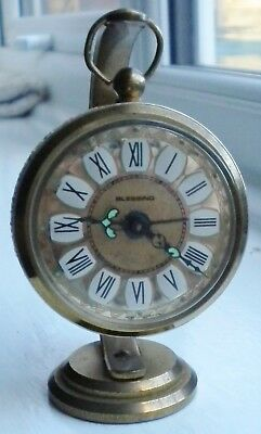 Vintage Antique Brass Filigree Blessing German 'hanging' Brass Alarm Clock Vgc
