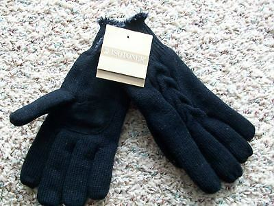 NEW ISOTONER BLACK MULTICOLOR KNIT GLOVES  WITH SUEDE PALMS WOMENS black knit